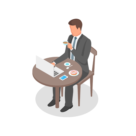 Isometric vector illustration of young businessman having breakfast