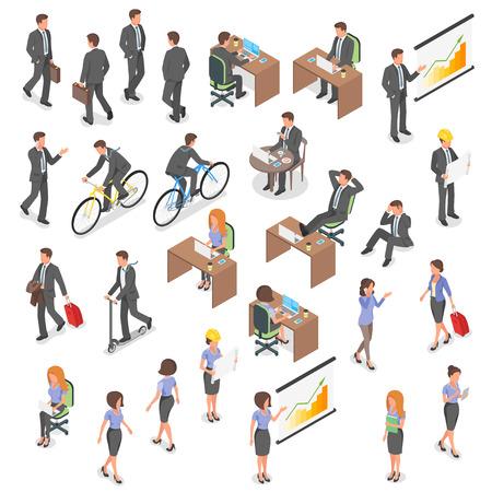 Conjunto de vetor isométrico de pessoas de negócios: homem e mulher.