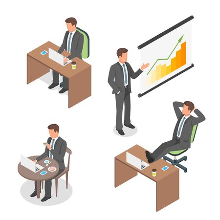 situations: Isometric vector set of businessmen in different situations.