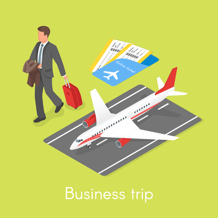 Isometric 3d vector concept of business trip. Businessman with travel case.