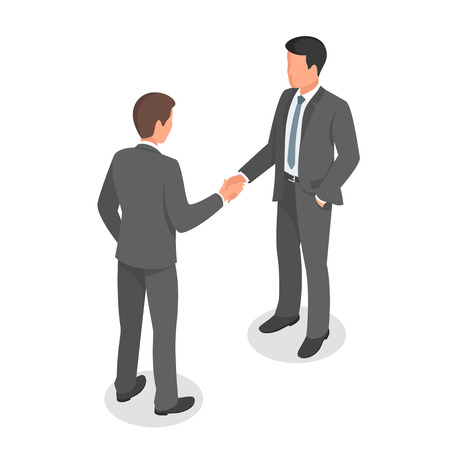 Isometric 3d vector illustration of business people shaking hands in agreement and making deal.