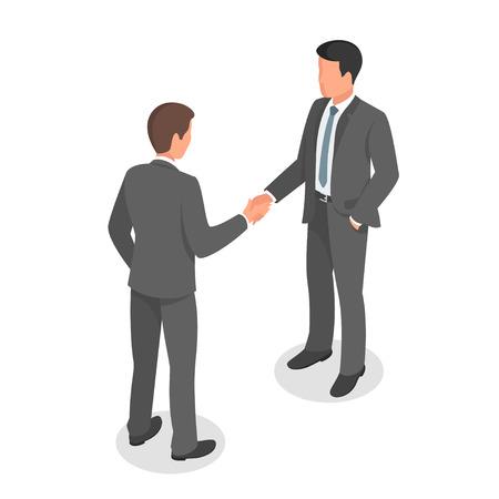 Isométrique 3d illustration vectorielle de gens d'affaires se serrant la main, en accord et en faisant affaire.