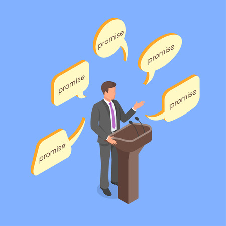 campaign promises: Isometric 3d vector concept of young politician giving empty promises. Illustration