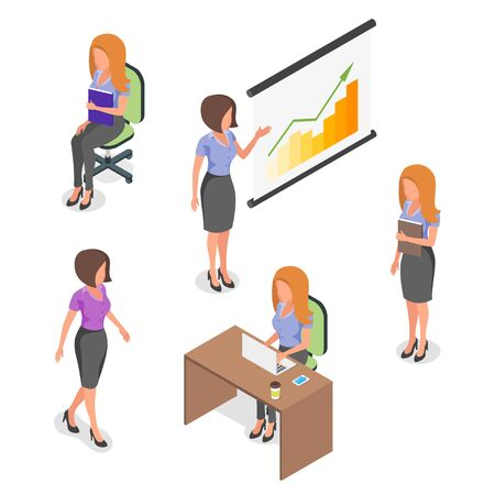 situations: Isometric vector set of young  businesswomen in different situations.