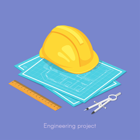 hat project: Vector 3d isometric concept of engineering project. Hard hat on the blueprints, ruler and dividers.