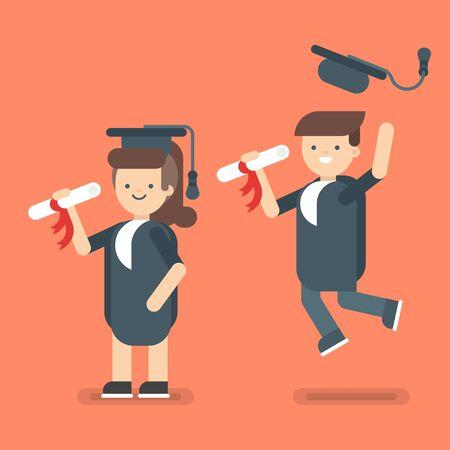 i i  i i toga: Ilustración vectorial de dos caracteres niños lindos felices. Chico y chica en trajes de Graduados.