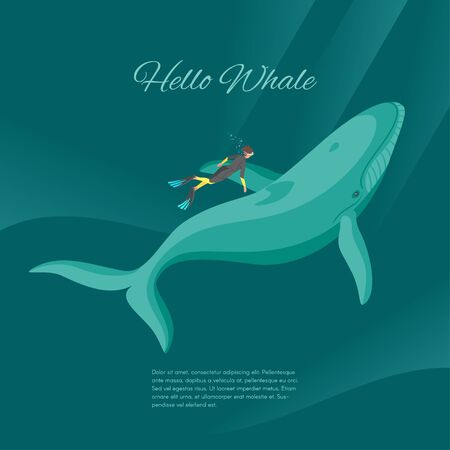 whale underwater: Isometric 3d vector illustration of diver and whale underwater in the sea. Illustration