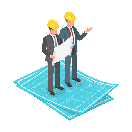 Vector 3d isometric concept of businessman or engineer in hard hat with architectural plan standing on blueprints.