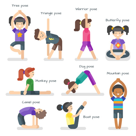 Vector illustration of cute girl in yoga different poses.