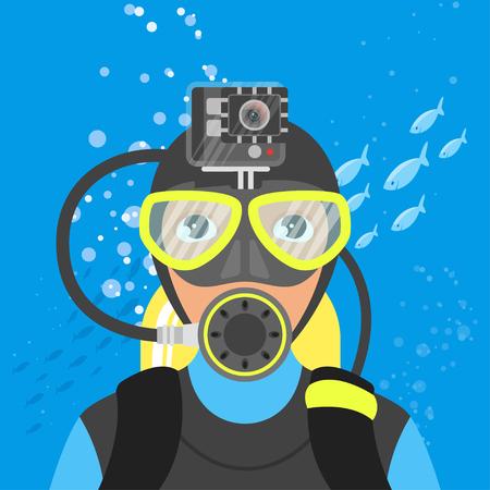 Vektor-Illustration von skuba Taucher Video-Aufnahmen unter Wasser im Meer. Vektorgrafik