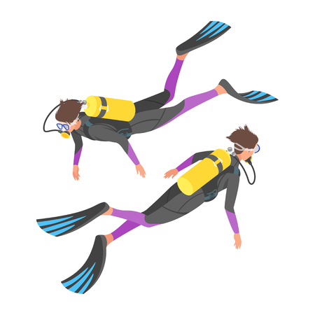 snorkelling: Isometric 3d vector illustration of diver with snorkelling equipment.