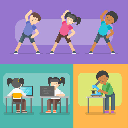 Vector illustration of kids activities at school. Back to school concept.