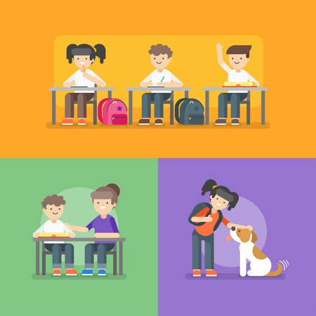 dog sled: Vector illustration of kids at school. Back to school concept. Different school activities. Illustration