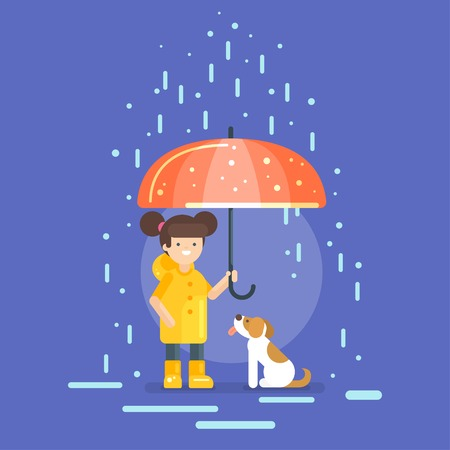 raincoat: Vector illustration of smiling girl in a yellow raincoat holding an umbrella, protecting a dog from the rain. Illustration