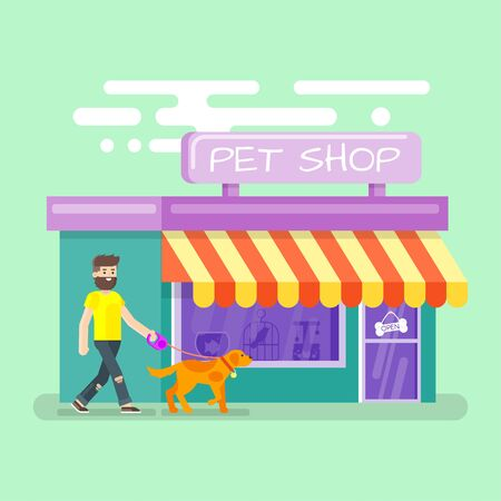 window display: Vector flat illustration of bearded man leading the dog to the pet shop.