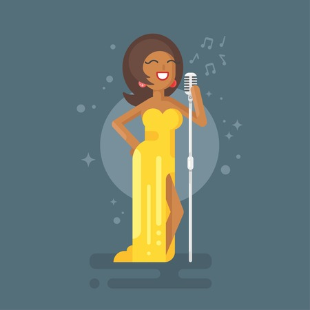 celebrities: Vector flat style illustration of Afro American woman star celebrity jazz singer in yellow dress with vintage microphone.