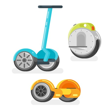 Vector flat style set of battery-powered electric vehicles on white background. Modern ecological transport. Gyro scooter and unicycle scooter. Illustration