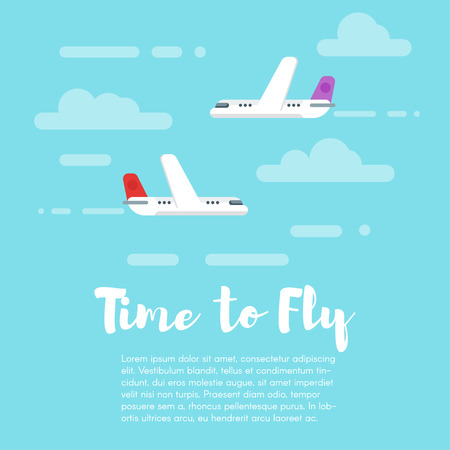 time fly: Vector flat style illustration of planes in the sky with word Time to fly. Flying machine. Isolated on blue background. Icon for web.