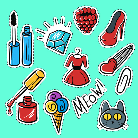 raspberry dress: Vector set of fashionable patches:brilliant, raspberries, cat, shoes . Modern doodle pop art sketch pins and badges. Hand drawn cute and funny fashion stickers kit. Isolated on green background.