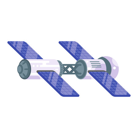 space station: Vector flat style illustration of space station with solar cells. Isolated on white background. Illustration