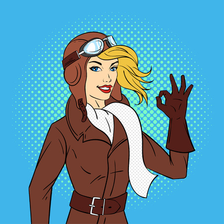 Vector mano dibuja la ilustración de estilo pop art de piloto retro mujer. Ilustración para impresión, web.