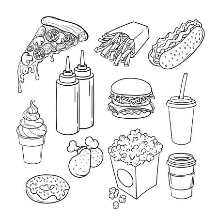 벡터 손으로 그려진 된 팝 아트 단색 패스트 푸드 세트. 케첩과 겨자, 햄버거, 닭 다리, 피자와 핫도그의 그림. 복고 스타일입니다. 손으로 그려진 된 기