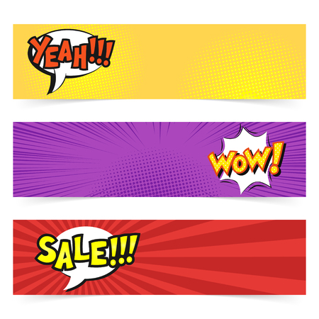 lichtenstein: Vector hand drawn pop art banner with speech bubble. Retro style. Hand drawn sign. Illustration for print, web. Yeah, wow, sale. Illustration