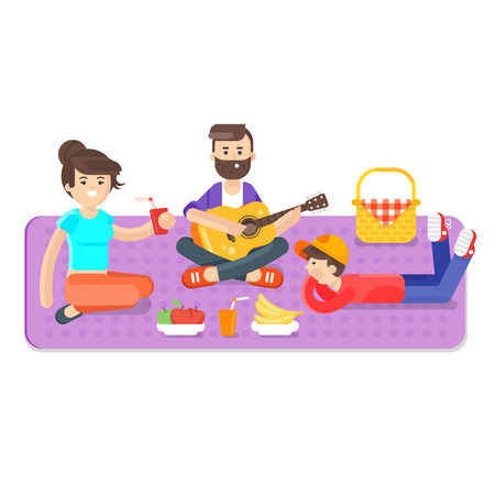 Vector flat style illustration of happy family picnic in the park with guitar. Summer romantic vacation. Isolated on white background. Dad, mom and son.