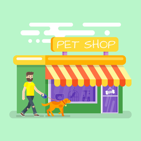 window display: Vector flat style illustration of bearded man leading the dog to the pet shop. Illustration