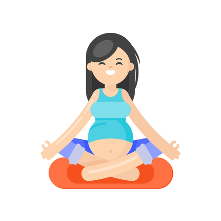 pregnancy exercise: Vector flat style illustration of pregnant woman doing yoga. Girl in lotus position. Isolated on white background. Healthy lifestyle. Illustration