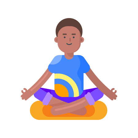 afro american: Vector flat style illustration of afro american man doing yoga. Boy in lotus position. Isolated on white background. Illustration