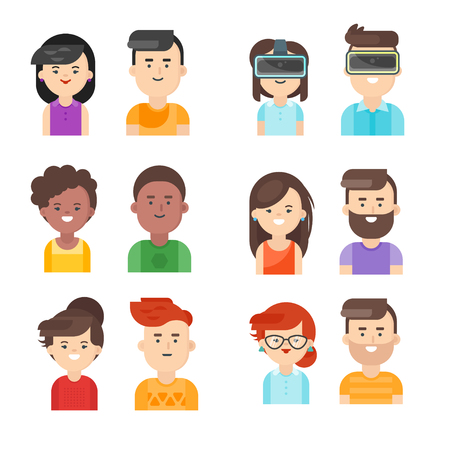 Vector flat style set of people icons. Men and women faces. Isolated on white background.