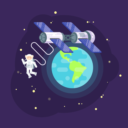 space station: Vector flat style illustration of space station and astronaut in outer space. Spaceman orbiting the Earth.