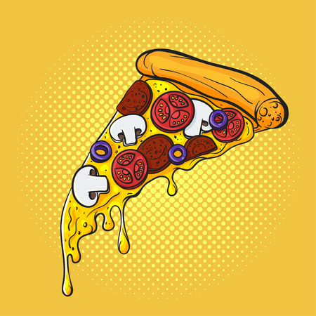 Vector hand drawn pop art illustration of pizza. Fast food. Retro style. Hand drawn sign. Illustration for print, web.