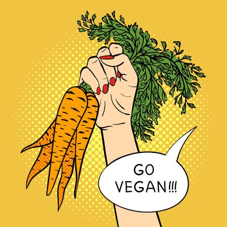 agitation: Vector hand drawn pop art illustration hand with carrot. Vegan agitation. Retro style. Hand drawn sign. Illustration for print, web. Illustration