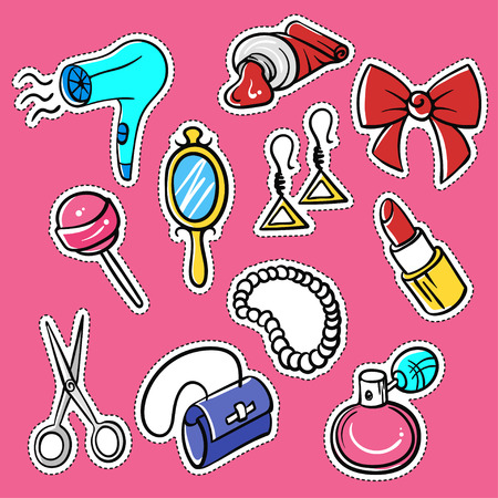 pomade: Vector set of fashionable patches: hairdryer, pomade, perfume, bead. Modern doodle pop art sketch pins and badges. Hand drawn cute and funny fashion stickers kit. Isolated on pink background.