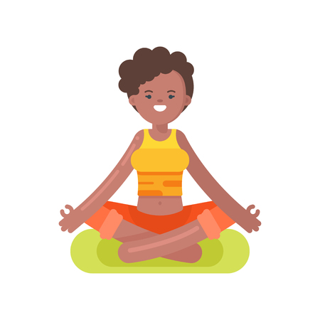 afro american: Vector flat style illustration of afro american woman doing yoga. Girl in lotus position. Isolated on white background.