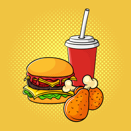 Vector hand drawn pop art illustration of burger, chicken legs, and soda cup. Fast food. Retro style. Hand drawn sign. Illustration for print, web.
