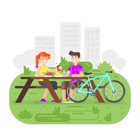 Vector flat style illustration of young happy couple having picnic in the park with bicycle. Summer romantic vacation.