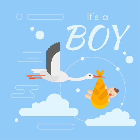 Vector flat style illustration of stork caring a newborn baby in the sky. Template for greeting card. Inscription Its a boy. Illustration