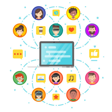 Vector flat style concept of social network and people comunication. Laptop and people icons. Isolated on white background.