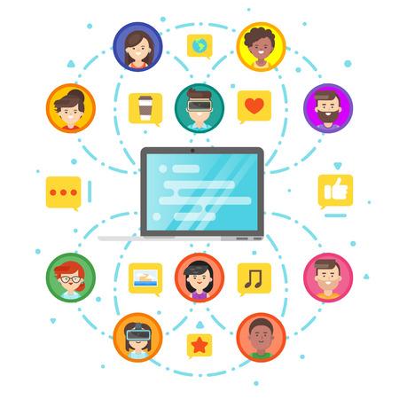 Vector de estilo plano concepto de red social de las personas y comunicación. Portátiles y de iconos de la gente. Aislado en el fondo blanco.
