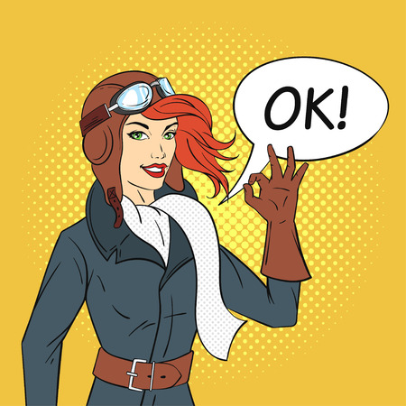Vector hand drawn pop art style illustration of retro woman pilot with speech bubble. Illustration for print, web.  イラスト・ベクター素材