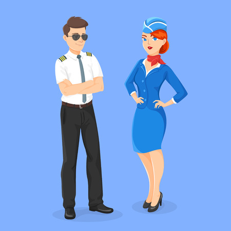 Vector flat style illustration of aircrew: pilot and stewardess. Isolated on blue background. Icon for web. Illustration