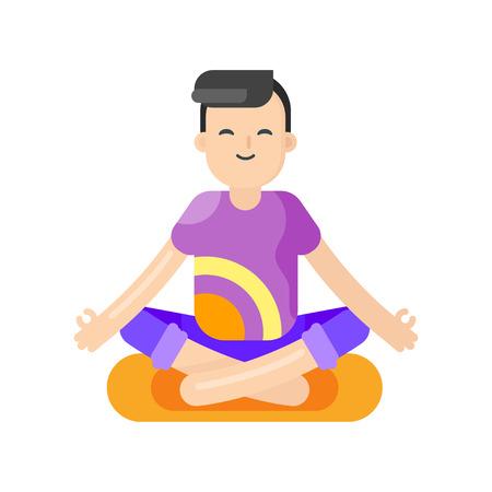 Vector de estilo plano ilustración de hombre asiático que hace yoga. Boy en posición de loto. Aislado en el fondo blanco.
