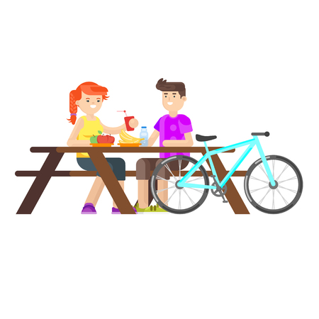 young happy couple: Vector flat style illustration of young happy couple having picnic in the park with bicycle. Summer romantic vacation. Isolated on white background.