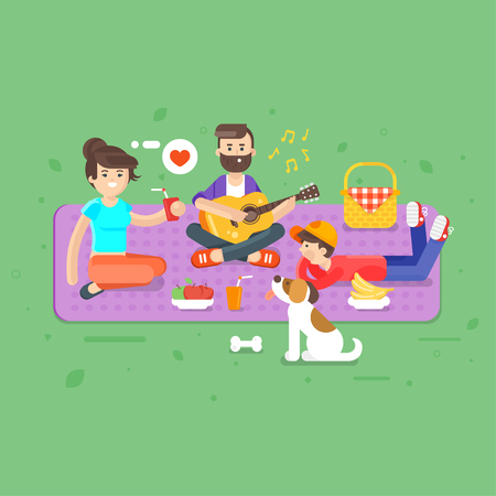 dog summer: Vector flat style illustration of happy family picnic in the park with guitar and dog. Summer romantic vacation. Dad, mom and son. Illustration