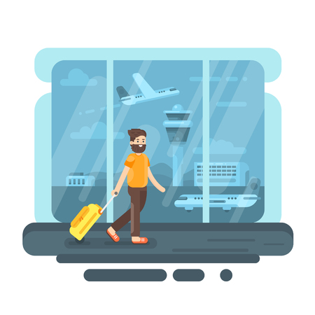 bearded man: Vector flat style illustration of bearded man with bag in airport. Aircraft and control tower. Plane on the runway.