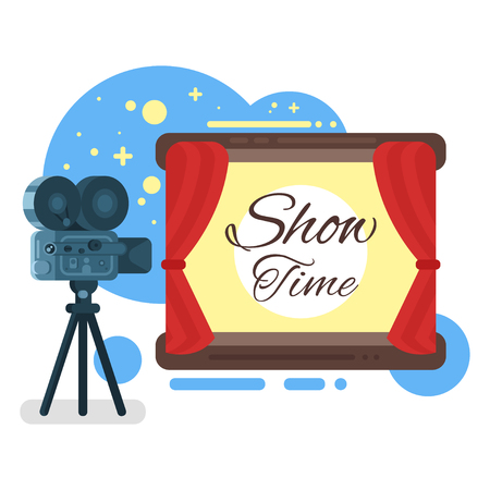 director chair: Vector flat style illustration of old cinema with inscription Show time. Isolated on white background.