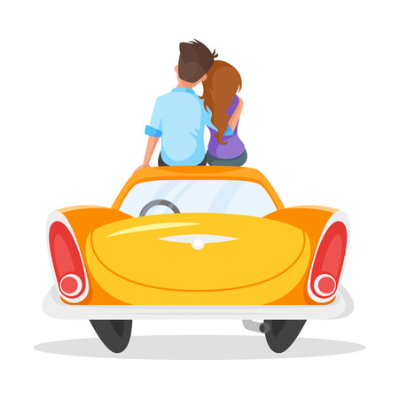 Vector cartoon style illustration of loving couple sitting on the vintage car. Isolated on white background.